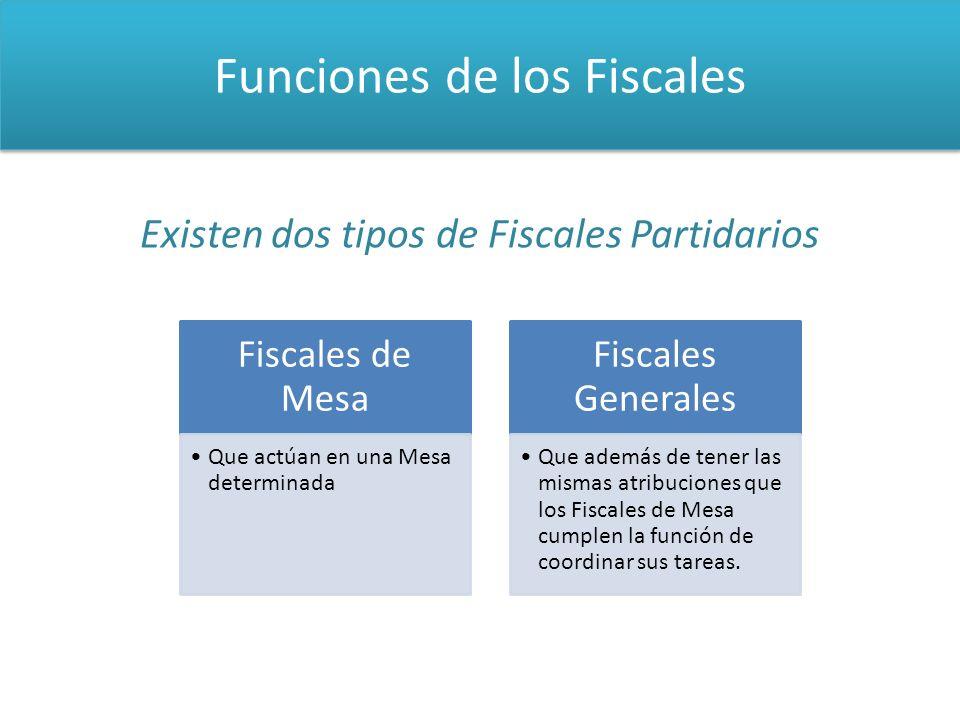 Funciones de los Fiscales Existen dos tipos de Fiscales Partidarios Fiscales de Mesa Que actúan en una Mesa determinada Fiscales Generales Que además