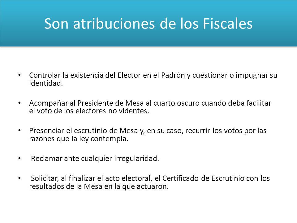 Son atribuciones de los Fiscales Controlar la existencia del Elector en el Padrón y cuestionar o impugnar su identidad. Acompañar al Presidente de Mes