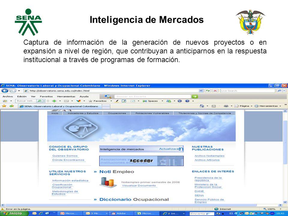 Captura de información de la generación de nuevos proyectos o en expansión a nivel de región, que contribuyan a anticiparnos en la respuesta institucional a través de programas de formación.