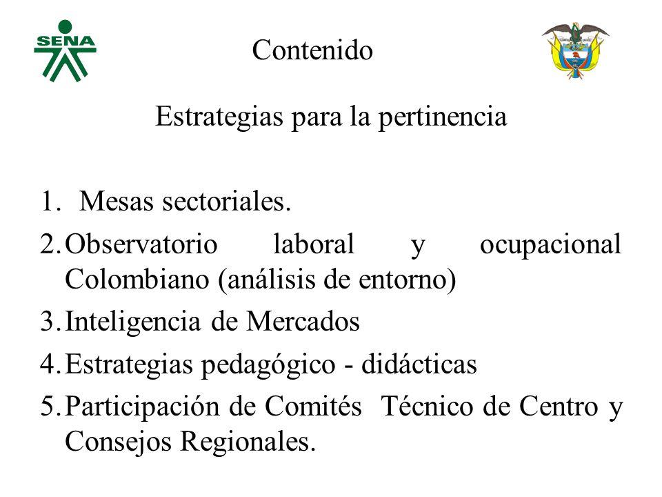Estrategias para la pertinencia 1.Mesas sectoriales.