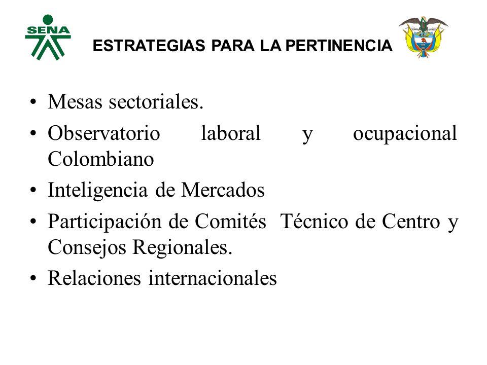 Mesas sectoriales.