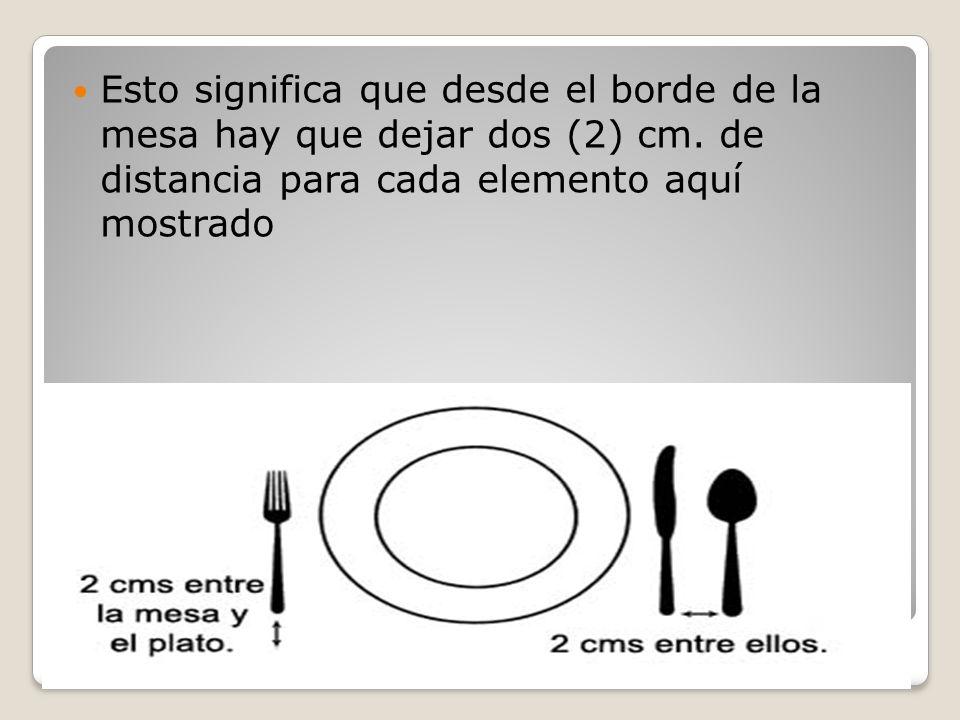 Como se marca una mesa.Esto significa que desde el borde de la mesa hay que dejar dos (2) cm.