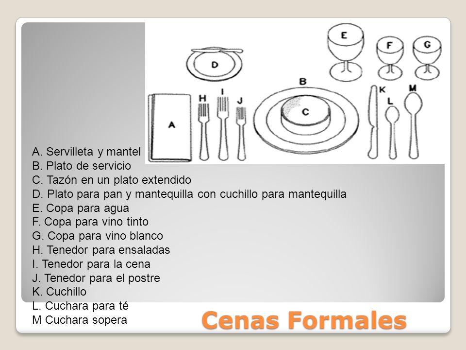 Cenas Formales A.Servilleta y mantel B. Plato de servicio C.