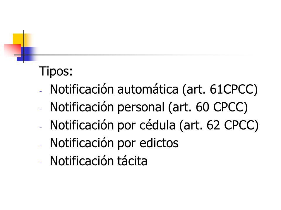 Tipos: - Notificación automática (art. 61CPCC) - Notificación personal (art. 60 CPCC) - Notificación por cédula (art. 62 CPCC) - Notificación por edic