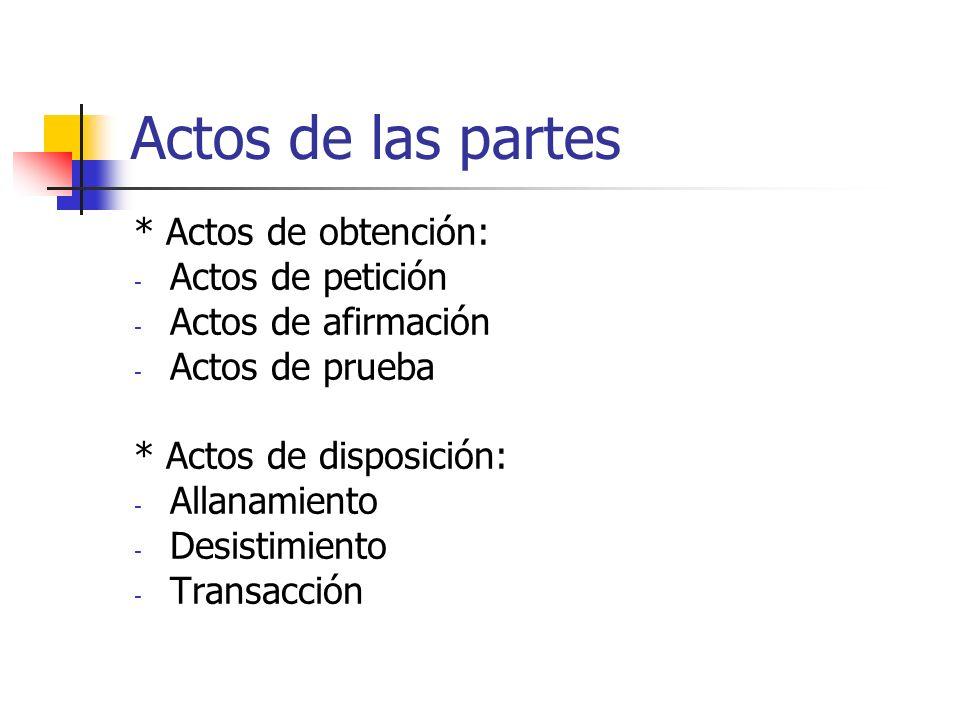 Actos de las partes * Actos de obtención: - Actos de petición - Actos de afirmación - Actos de prueba * Actos de disposición: - Allanamiento - Desisti