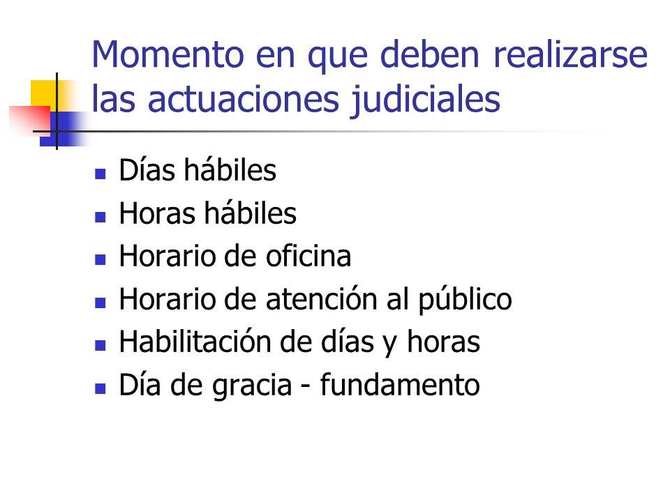Momento en que deben realizarse las actuaciones judiciales Días hábiles Horas hábiles Horario de oficina Horario de atención al público Habilitación d
