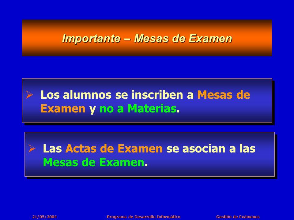 21/05/2004 Programa de Desarrollo Informático Gestión de Exámenes Importante – Mesas de Examen Los alumnos se inscriben a Mesas de Examen y no a Materias.