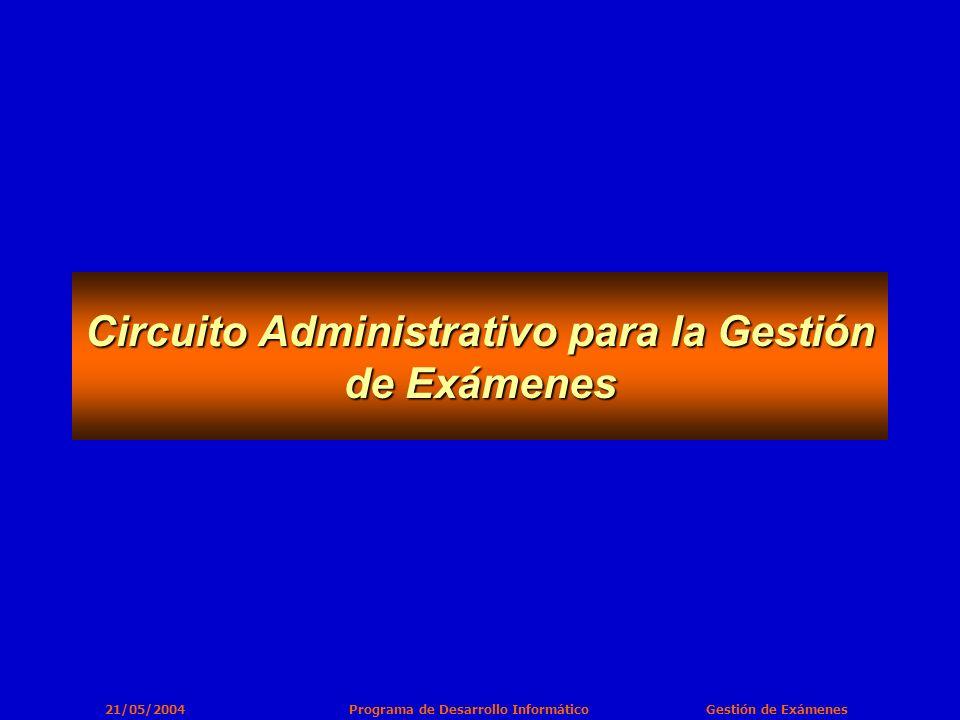 21/05/2004 Programa de Desarrollo Informático Gestión de Exámenes Circuito Administrativo para la Gestión de Exámenes