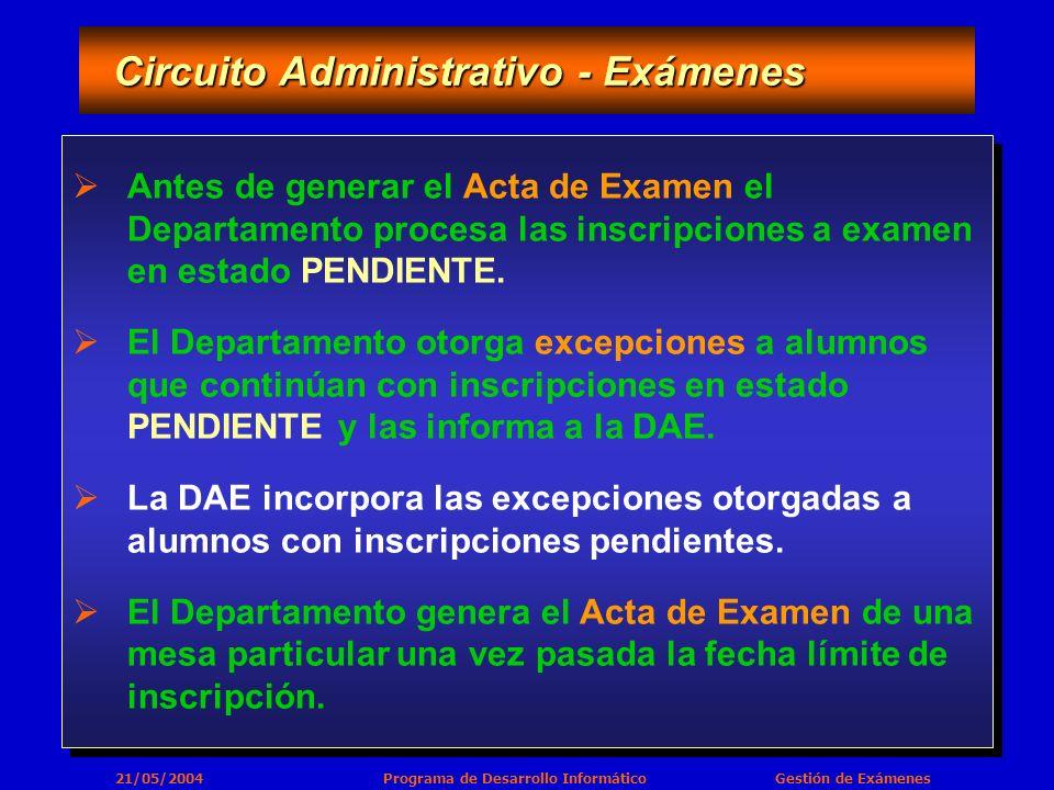 21/05/2004 Programa de Desarrollo Informático Gestión de Exámenes Circuito Administrativo - Exámenes Circuito Administrativo - Exámenes Antes de generar el Acta de Examen el Departamento procesa las inscripciones a examen en estado PENDIENTE.