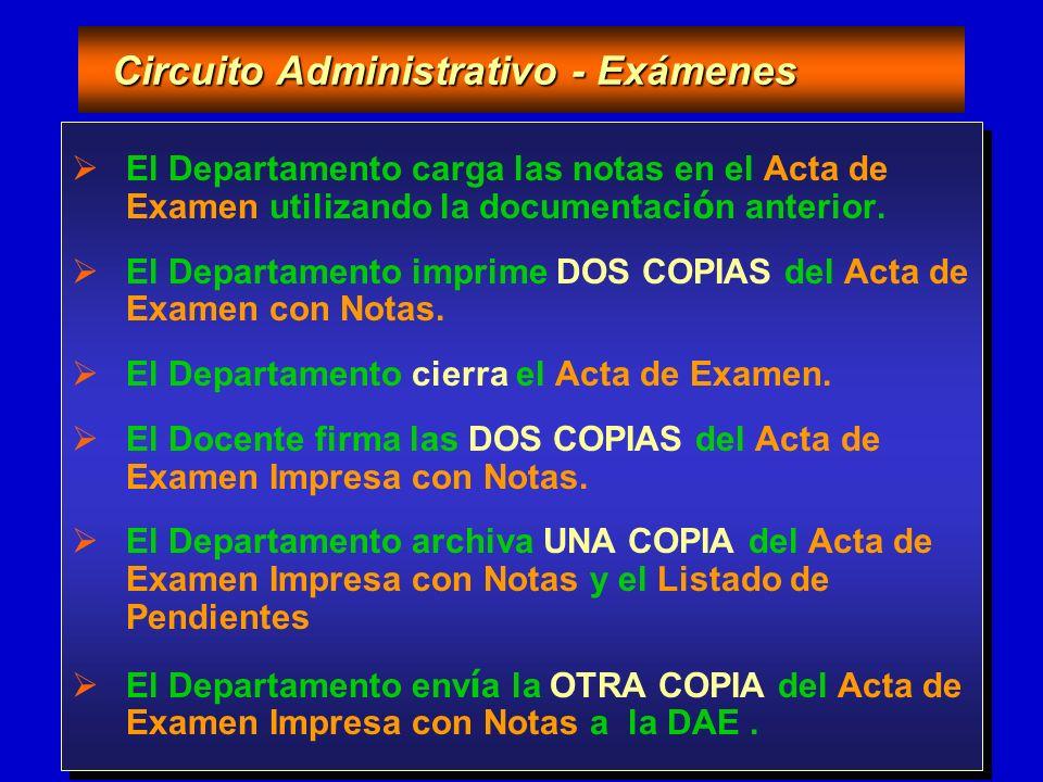 21/05/2004 Programa de Desarrollo Informático Gestión de Exámenes Circuito Administrativo - Exámenes Circuito Administrativo - Exámenes El Departamento carga las notas en el Acta de Examen utilizando la documentaci ó n anterior.