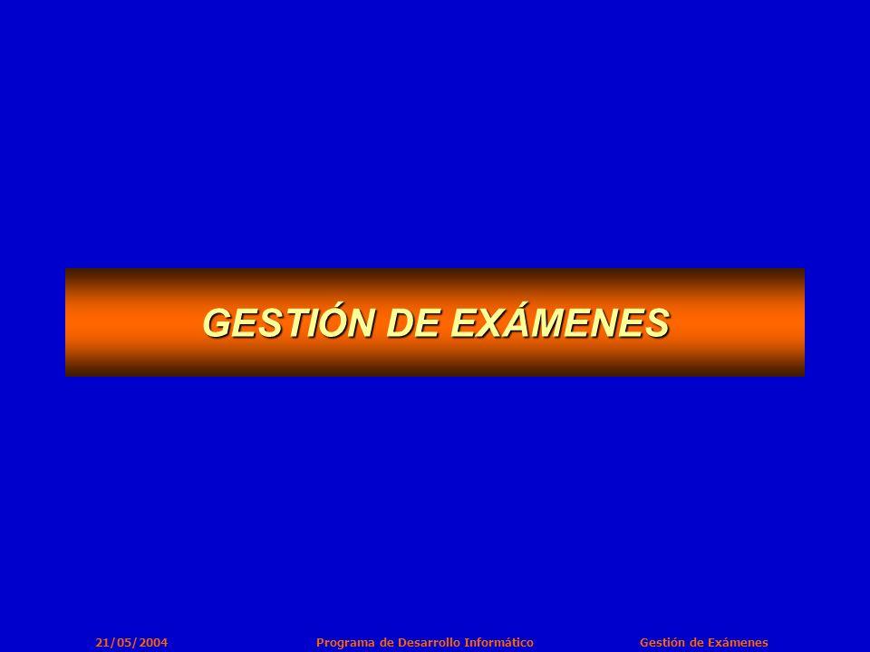 21/05/2004 Programa de Desarrollo Informático Gestión de Exámenes GESTIÓN DE EXÁMENES