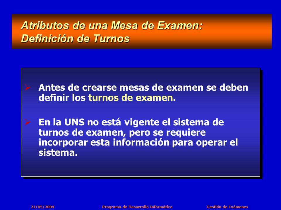 21/05/2004 Programa de Desarrollo Informático Gestión de Exámenes Antes de crearse mesas de examen se deben definir los turnos de examen.
