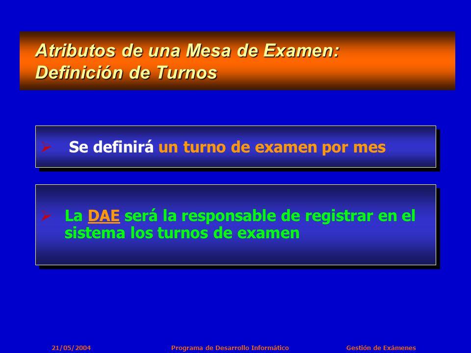 21/05/2004 Programa de Desarrollo Informático Gestión de Exámenes Se definirá un turno de examen por mes Atributos de una Mesa de Examen: Definición de Turnos Atributos de una Mesa de Examen: Definición de Turnos La DAE será la responsable de registrar en el sistema los turnos de examen
