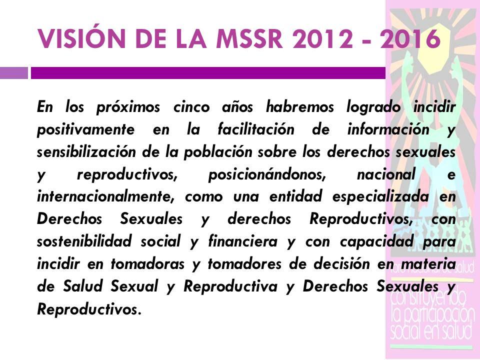 VISIÓN DE LA MSSR 2012 - 2016 En los próximos cinco años habremos logrado incidir positivamente en la facilitación de información y sensibilización de