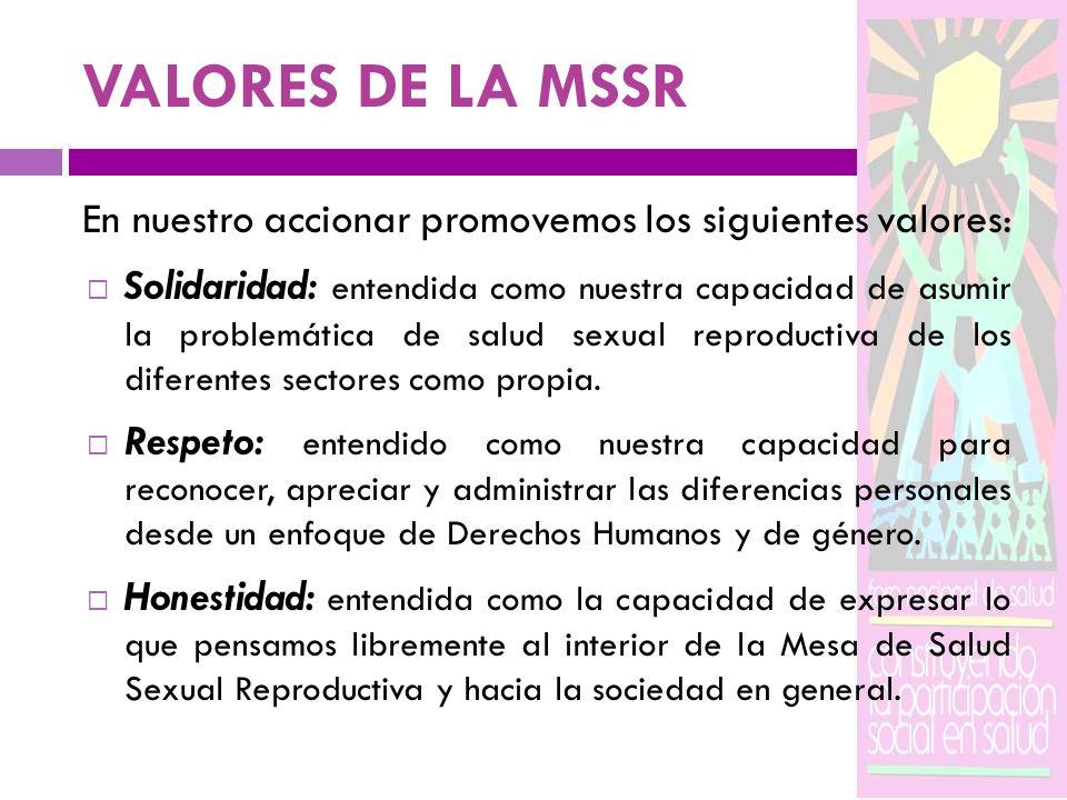 VALORES DE LA MSSR En nuestro accionar promovemos los siguientes valores: Solidaridad: entendida como nuestra capacidad de asumir la problemática de s