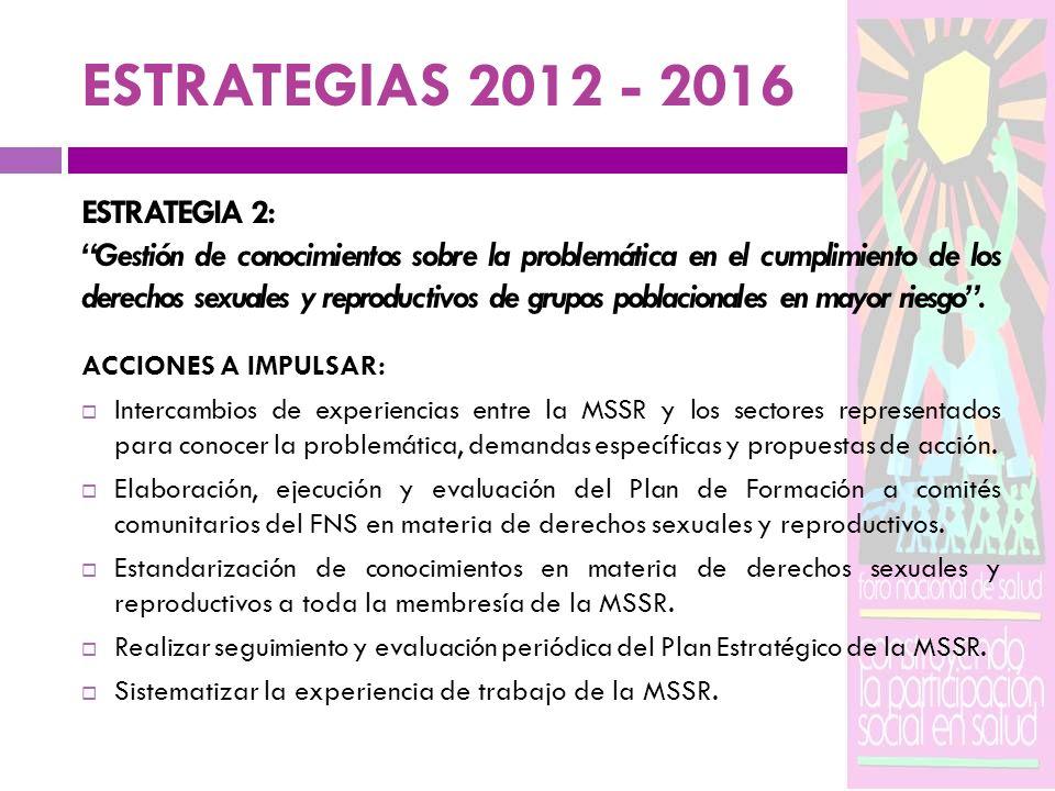 ESTRATEGIAS 2012 - 2016 ESTRATEGIA 2: Gestión de conocimientos sobre la problemática en el cumplimiento de los derechos sexuales y reproductivos de gr