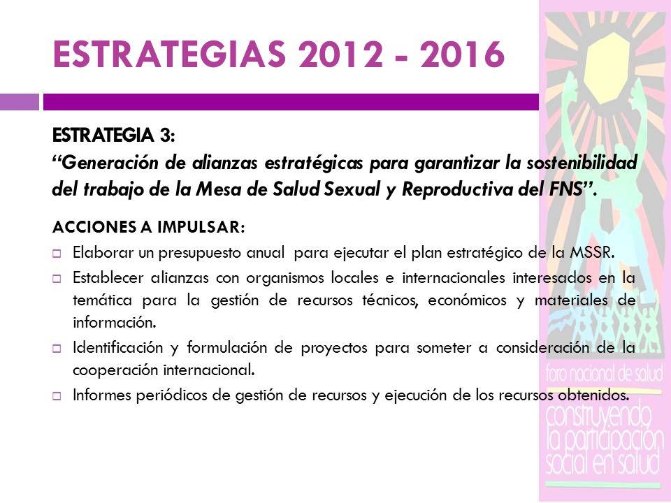 ESTRATEGIAS 2012 - 2016 ESTRATEGIA 3: Generación de alianzas estratégicas para garantizar la sostenibilidad del trabajo de la Mesa de Salud Sexual y R