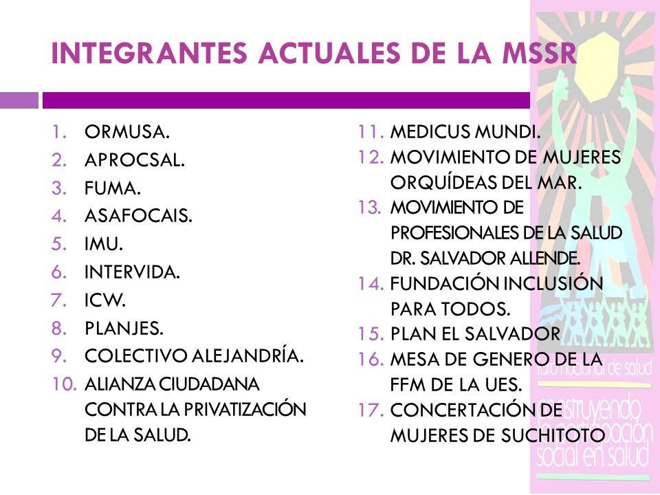 INTEGRANTES ACTUALES DE LA MSSR 1.ORMUSA. 2.APROCSAL. 3.FUMA. 4.ASAFOCAIS. 5.IMU. 6.INTERVIDA. 7.ICW. 8.PLANJES. 9.COLECTIVO ALEJANDRÍA. 10.ALIANZA CI
