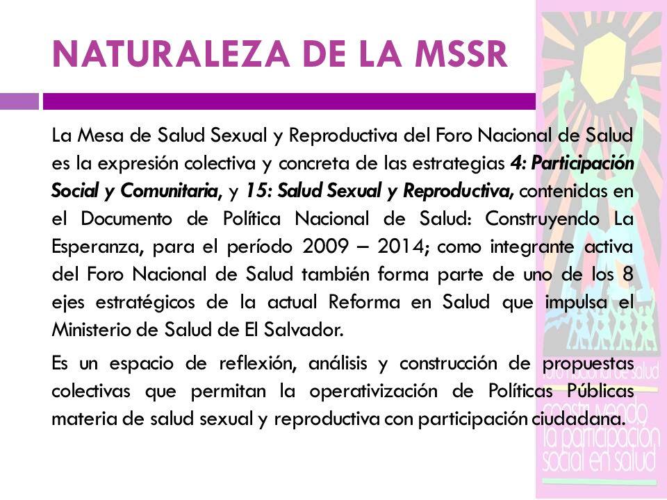 NATURALEZA DE LA MSSR La Mesa de Salud Sexual y Reproductiva del Foro Nacional de Salud es la expresión colectiva y concreta de las estrategias 4: Par