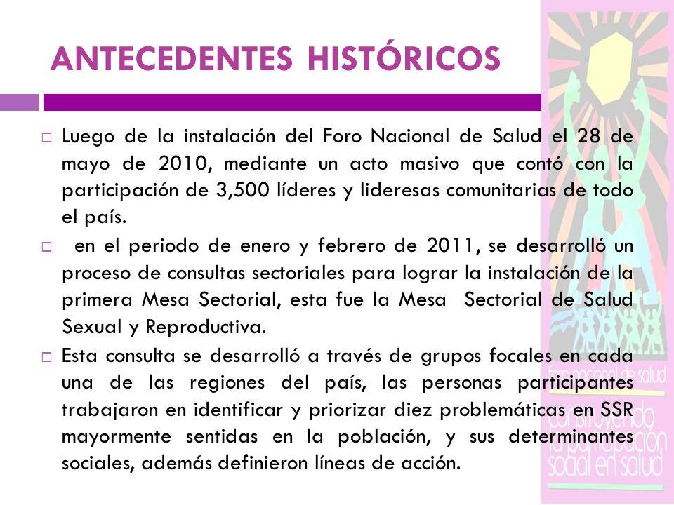 ANTECEDENTES HISTÓRICOS Luego de la instalación del Foro Nacional de Salud el 28 de mayo de 2010, mediante un acto masivo que contó con la participaci