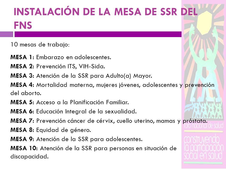 INSTALACIÓN DE LA MESA DE SSR DEL FNS 10 mesas de trabajo: MESA 1: Embarazo en adolescentes. MESA 2: Prevención ITS, VIH-Sida. MESA 3: Atención de la
