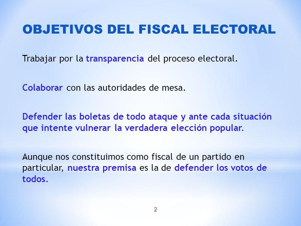 * Artículo 57º (Código Electoral Nacional): Misión de los fiscales.