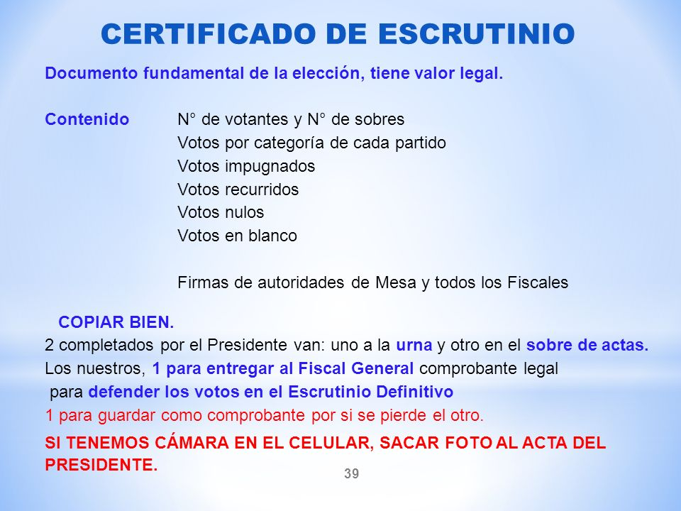 Documento fundamental de la elección, tiene valor legal.