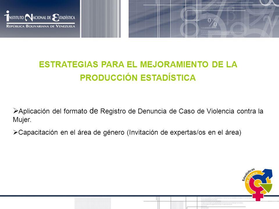 ESTRATEGIAS PARA EL MEJORAMIENTO DE LA PRODUCCIÓN ESTADÍSTICA Aplicación del formato de Registro de Denuncia de Caso de Violencia contra la Mujer. Cap