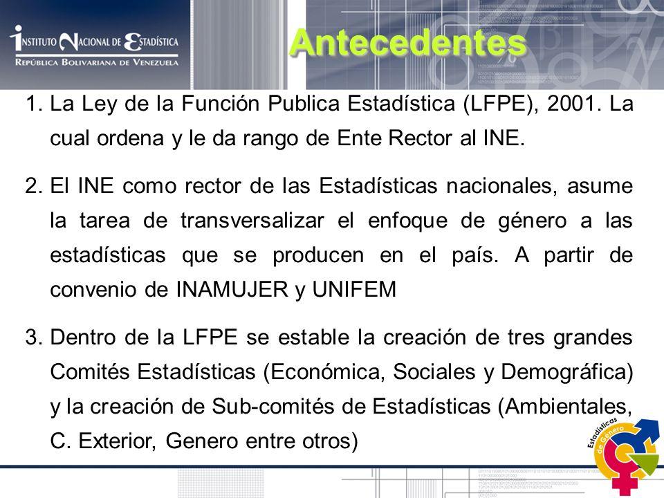 1.La Ley de la Función Publica Estadística (LFPE), 2001. La cual ordena y le da rango de Ente Rector al INE. 2.El INE como rector de las Estadísticas