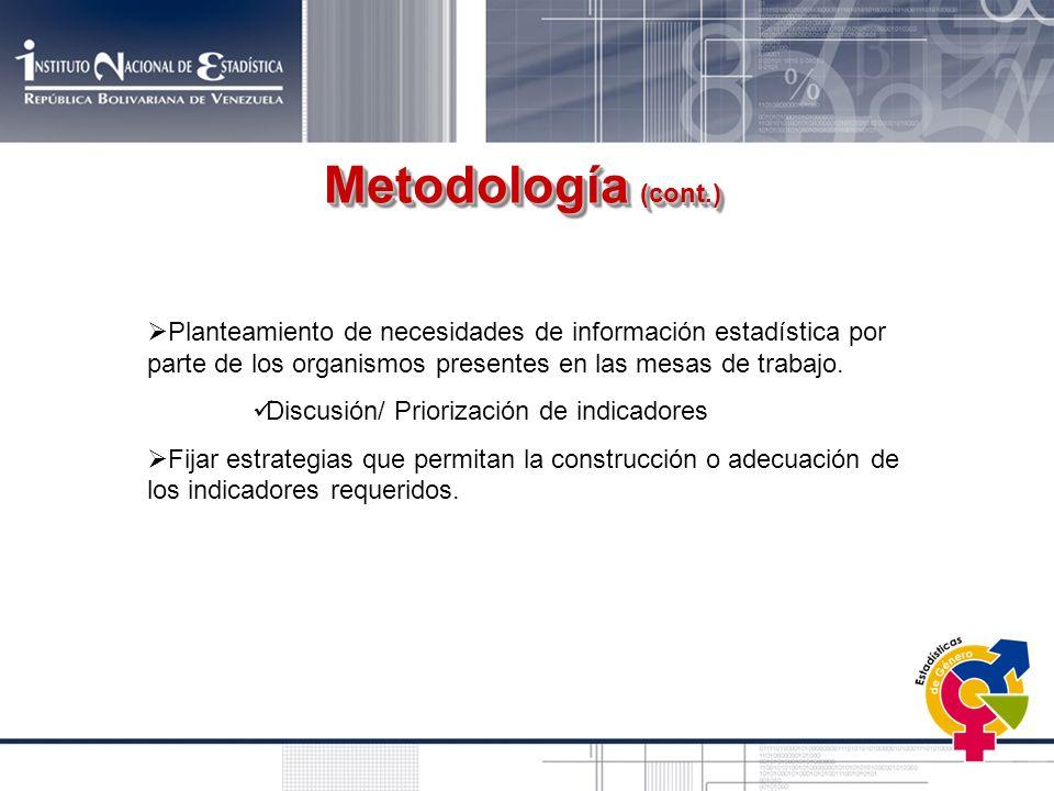 Planteamiento de necesidades de información estadística por parte de los organismos presentes en las mesas de trabajo. Discusión/ Priorización de indi