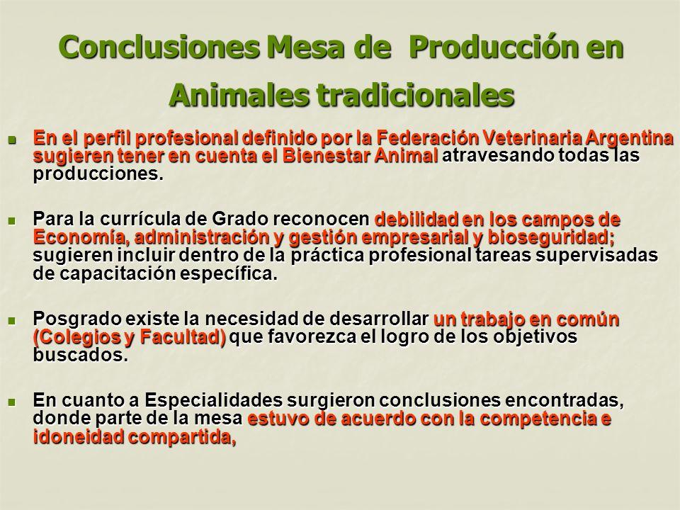 Conclusiones Mesa de Producción en Animales tradicionales En el perfil profesional definido por la Federación Veterinaria Argentina sugieren tener en