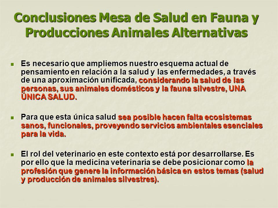 Conclusiones Mesa de Salud en Fauna y Producciones Animales Alternativas Es necesario que ampliemos nuestro esquema actual de pensamiento en relación