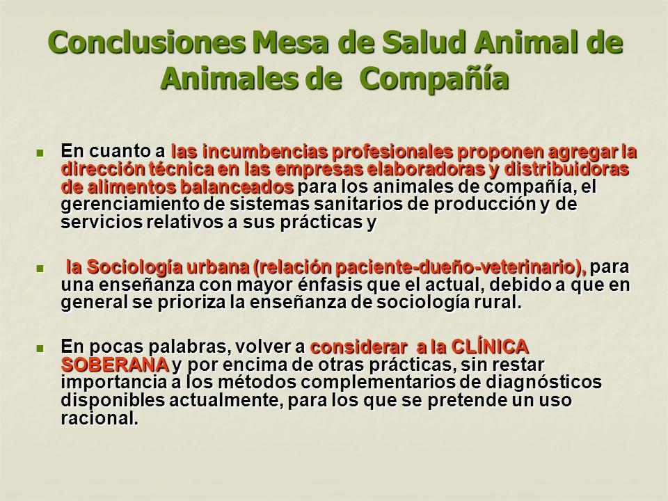 Conclusiones Mesa de Salud Animal de Animales de Compañía En cuanto a las incumbencias profesionales proponen agregar la dirección técnica en las empr