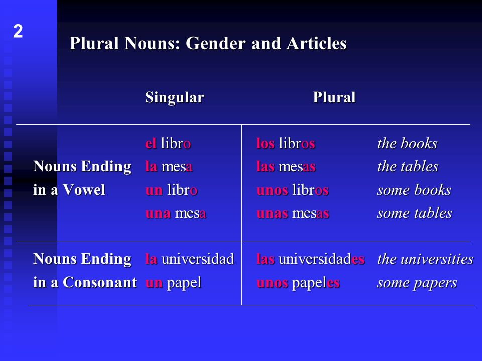 Plural Nouns: Gender and Articles SingularPlural el librolos librosthe books Nouns Ending la mesalas mesasthe tables in a Vowel un librounos librossom