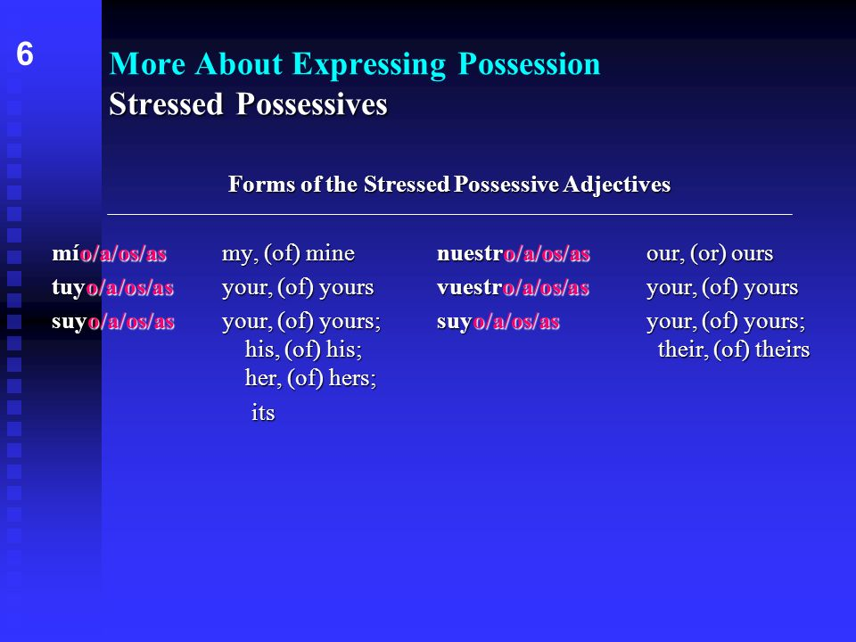 Stressed Possessives More About Expressing Possession Stressed Possessives Forms of the Stressed Possessive Adjectives o/a/os/aso/a/os/as mío/a/os/asm