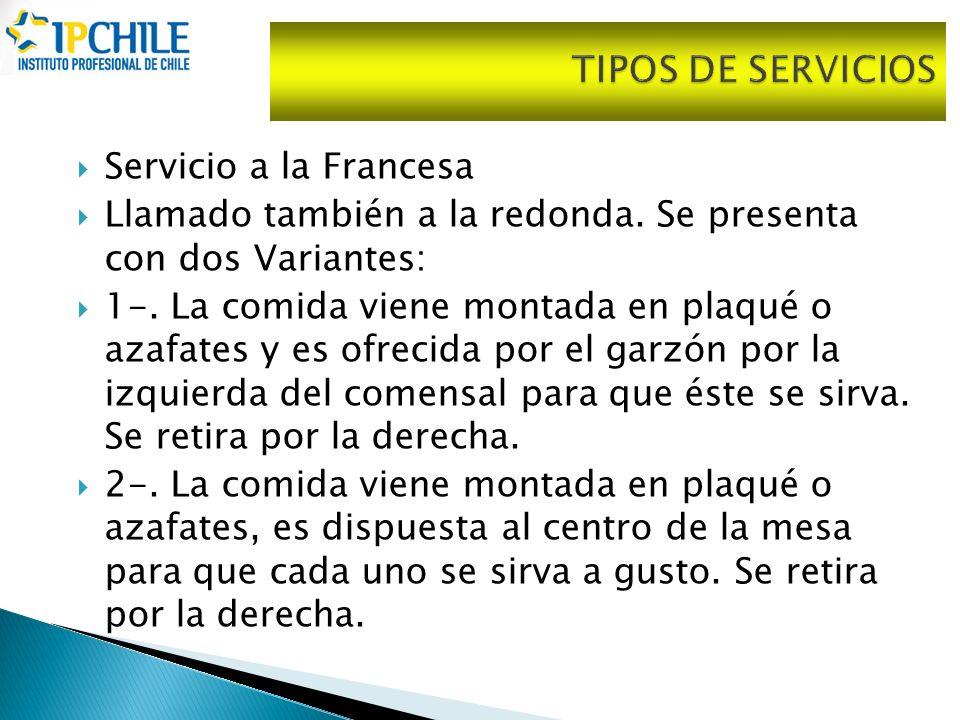 Servicio a la Francesa Llamado también a la redonda. Se presenta con dos Variantes: 1-. La comida viene montada en plaqué o azafates y es ofrecida por