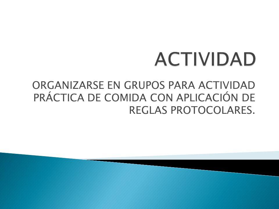ORGANIZARSE EN GRUPOS PARA ACTIVIDAD PRÁCTICA DE COMIDA CON APLICACIÓN DE REGLAS PROTOCOLARES.