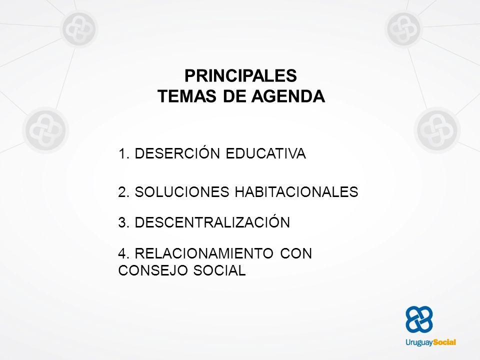 PRINCIPALES TEMAS DE AGENDA 1. DESERCIÓN EDUCATIVA 2. SOLUCIONES HABITACIONALES 3. DESCENTRALIZACIÓN 4. RELACIONAMIENTO CON CONSEJO SOCIAL