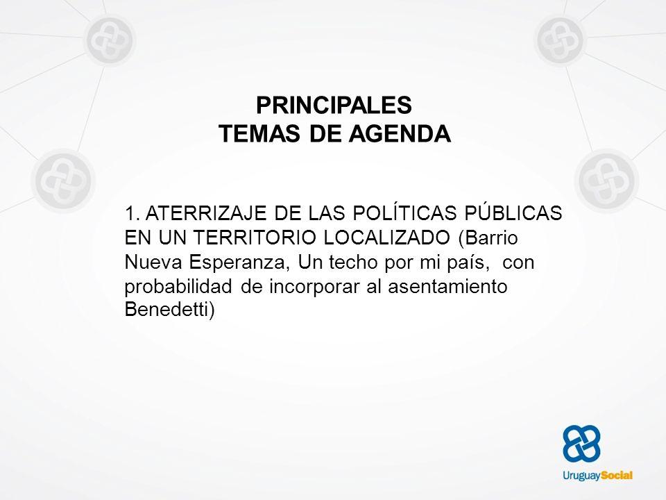 PRINCIPALES TEMAS DE AGENDA 1. ATERRIZAJE DE LAS POLÍTICAS PÚBLICAS EN UN TERRITORIO LOCALIZADO (Barrio Nueva Esperanza, Un techo por mi país, con pro