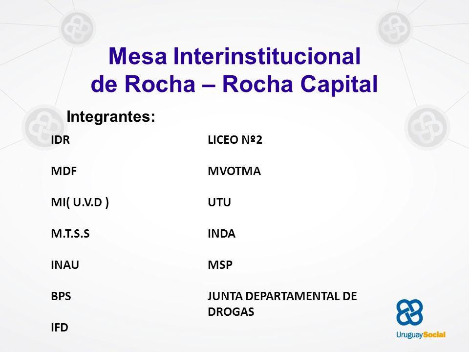 Mesa Interinstitucional de Rocha – Rocha Capital Integrantes: IDR MDF MI( U.V.D ) M.T.S.S INAU BPS IFD LICEO Nº2 MVOTMA UTU INDA MSP JUNTA DEPARTAMENT