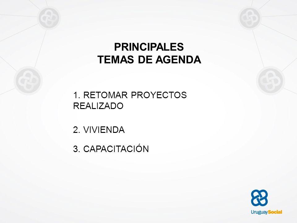 PRINCIPALES TEMAS DE AGENDA 1. RETOMAR PROYECTOS REALIZADO 2. VIVIENDA 3. CAPACITACIÓN