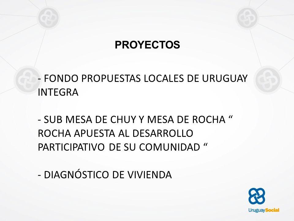PROYECTOS - FONDO PROPUESTAS LOCALES DE URUGUAY INTEGRA - SUB MESA DE CHUY Y MESA DE ROCHA ROCHA APUESTA AL DESARROLLO PARTICIPATIVO DE SU COMUNIDAD -
