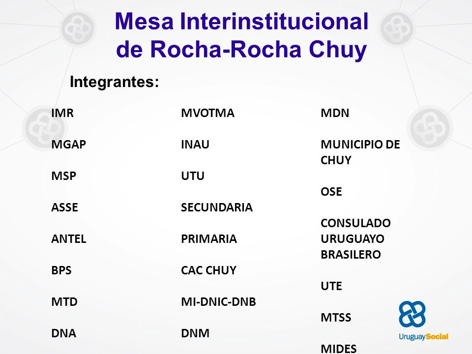 Mesa Interinstitucional de Rocha-Rocha Chuy Integrantes: IMR MGAP MSP ASSE ANTEL BPS MTD DNA MVOTMA INAU UTU SECUNDARIA PRIMARIA CAC CHUY MI-DNIC-DNB