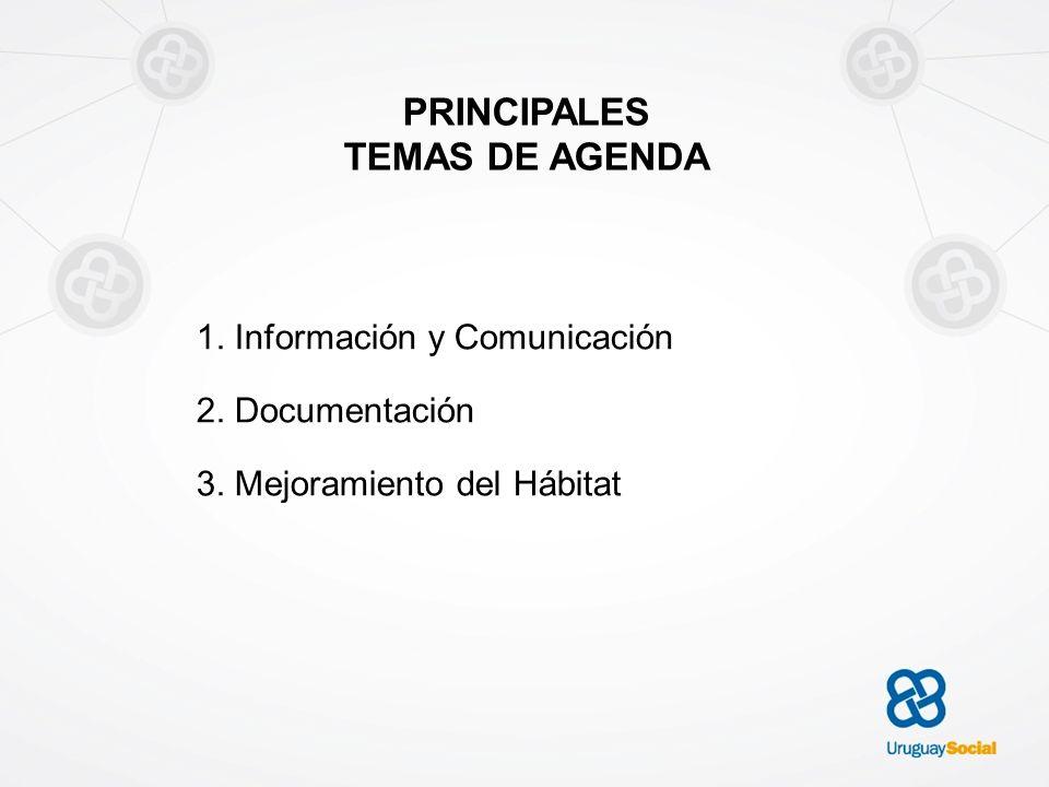 PRINCIPALES TEMAS DE AGENDA 1. Información y Comunicación 2. Documentación 3. Mejoramiento del Hábitat