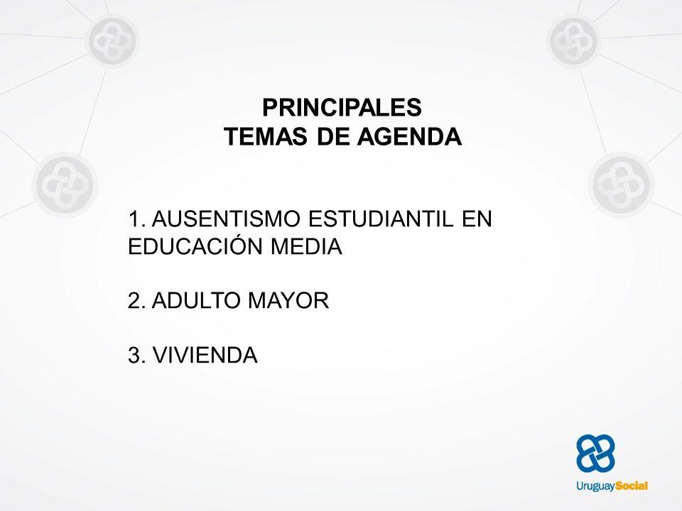 PRINCIPALES TEMAS DE AGENDA 1. AUSENTISMO ESTUDIANTIL EN EDUCACIÓN MEDIA 2. ADULTO MAYOR 3. VIVIENDA