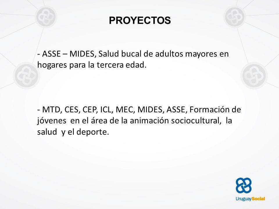 PROYECTOS - ASSE – MIDES, Salud bucal de adultos mayores en hogares para la tercera edad. - MTD, CES, CEP, ICL, MEC, MIDES, ASSE, Formación de jóvenes