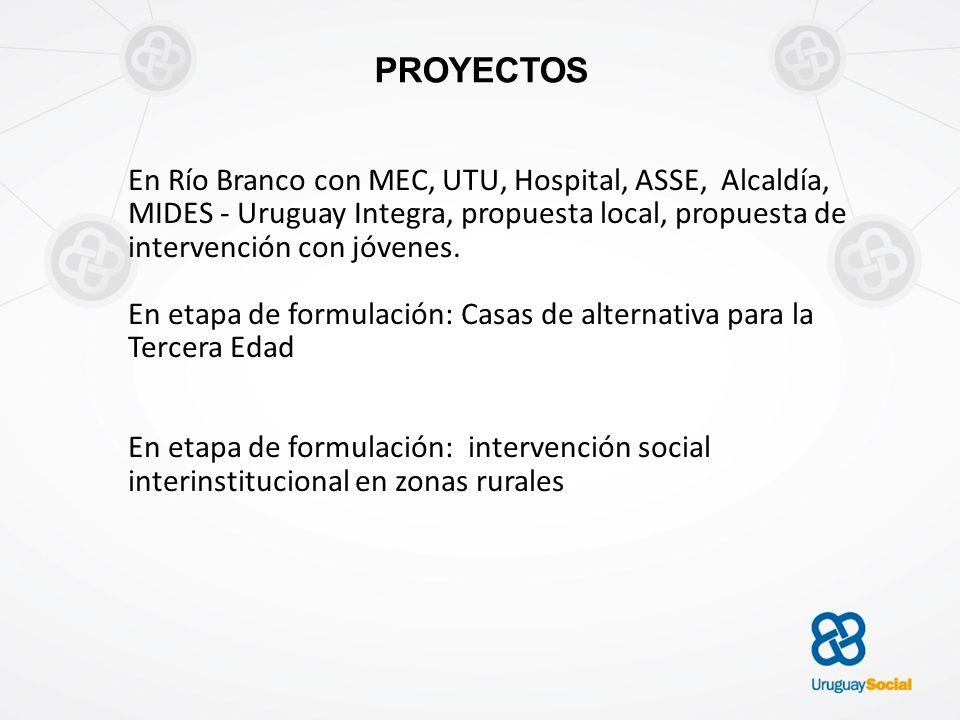 PROYECTOS En Río Branco con MEC, UTU, Hospital, ASSE, Alcaldía, MIDES - Uruguay Integra, propuesta local, propuesta de intervención con jóvenes. En et