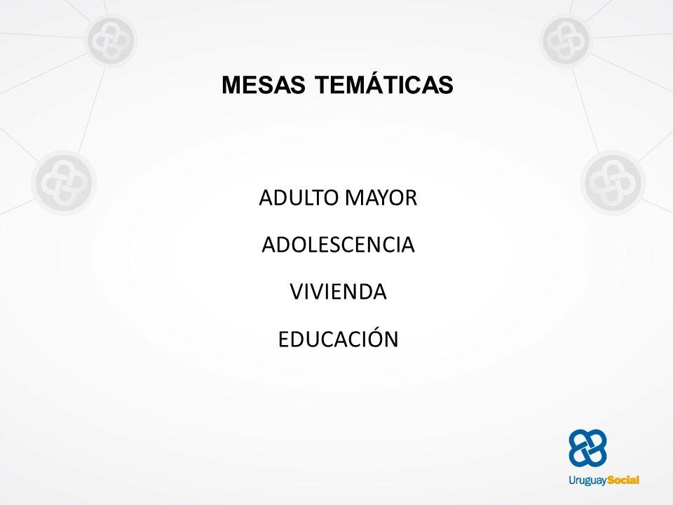 MESAS TEMÁTICAS ADULTO MAYOR ADOLESCENCIA VIVIENDA EDUCACIÓN