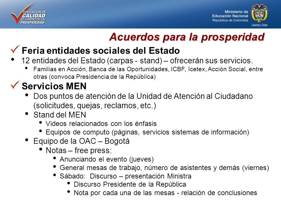 Acuerdos para la prosperidad Feria entidades sociales del Estado 12 entidades del Estado (carpas - stand) – ofrecerán sus servicios.
