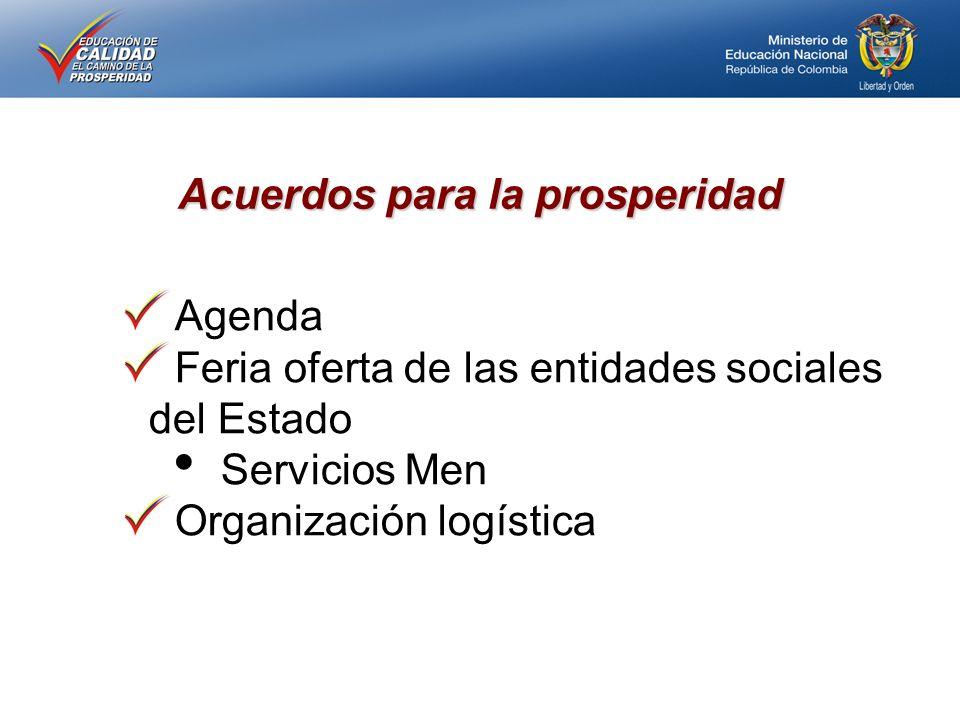 Acuerdos para la prosperidad Agenda Feria oferta de las entidades sociales del Estado Servicios Men Organización logística